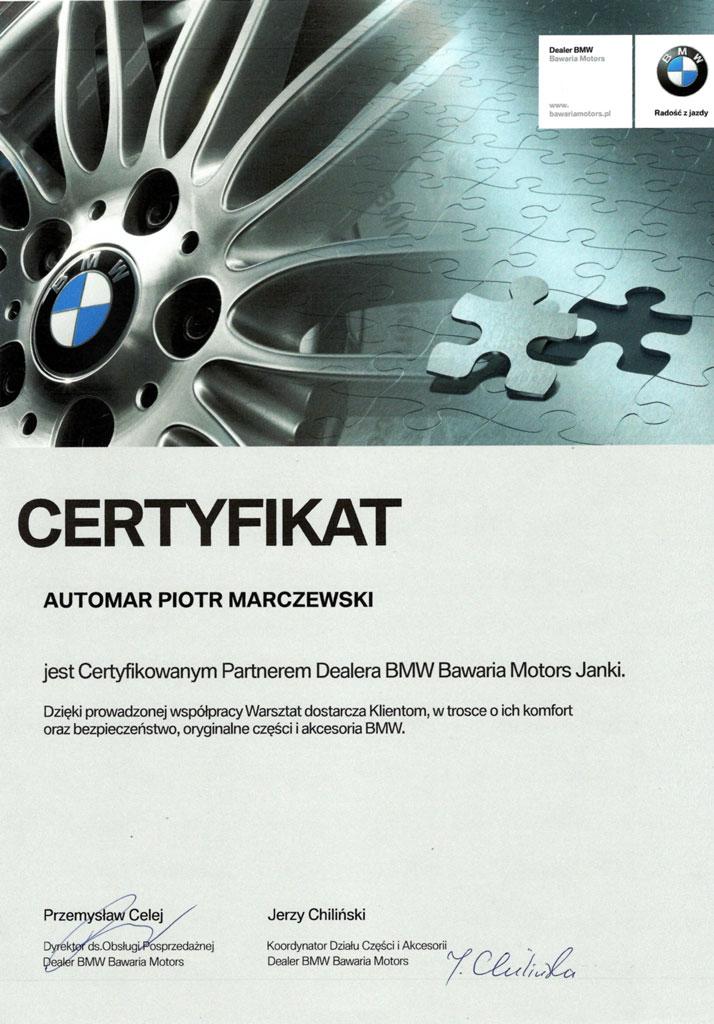 Certyfikat Bawaria Motors